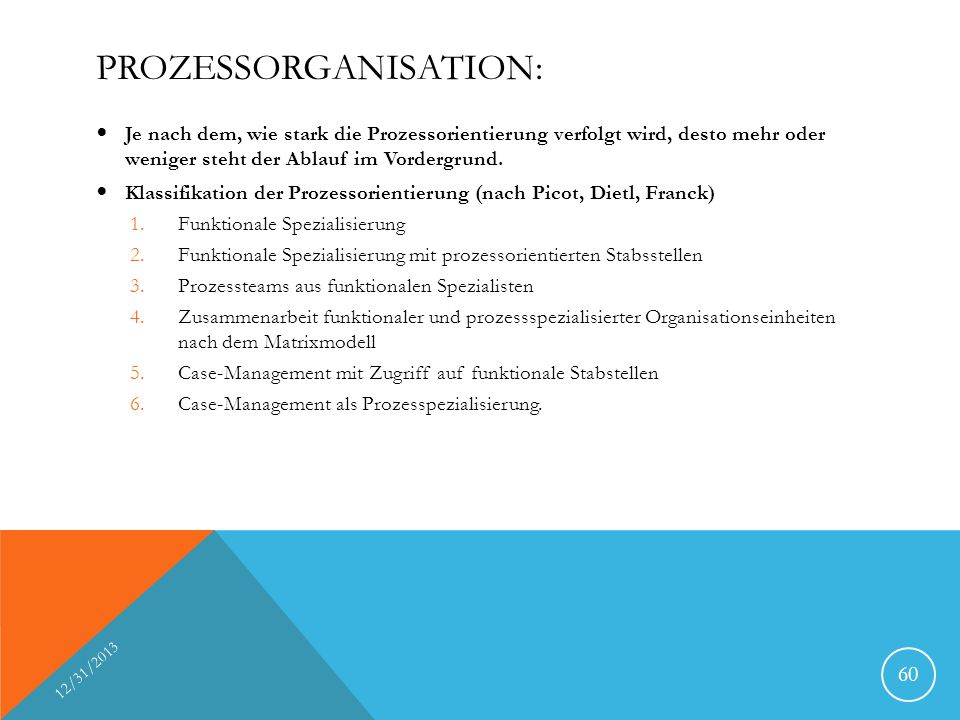 Prozessorganisation: