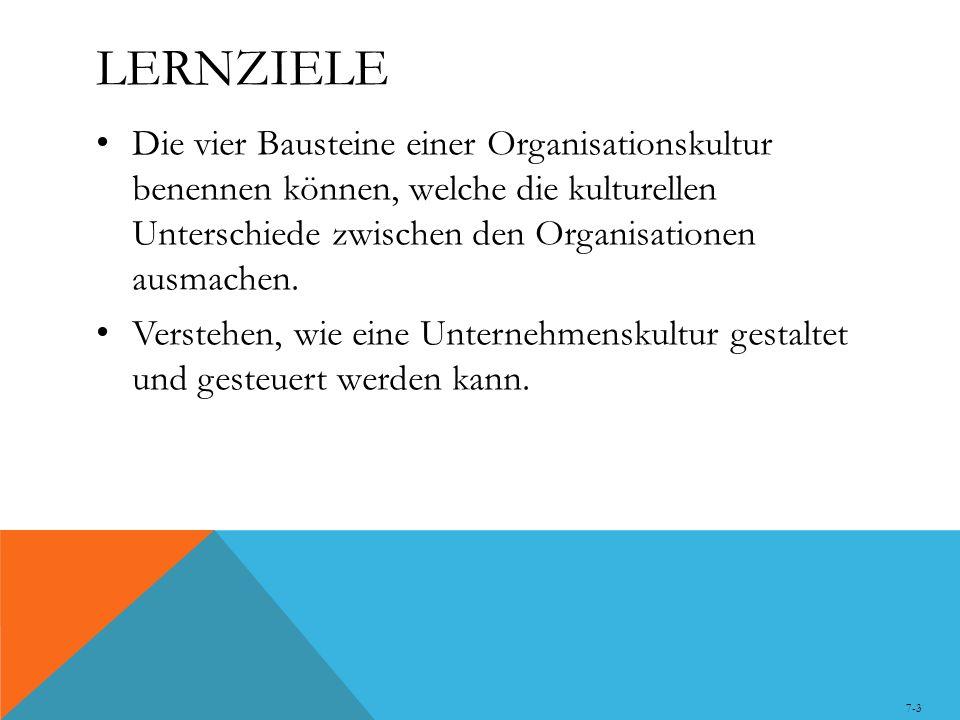 Lernziele Die vier Bausteine einer Organisationskultur benennen können, welche die kulturellen Unterschiede zwischen den Organisationen ausmachen.