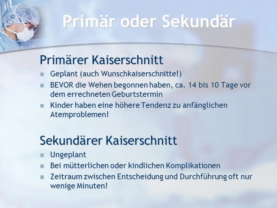 Primär oder Sekundär Primärer Kaiserschnitt Sekundärer Kaiserschnitt