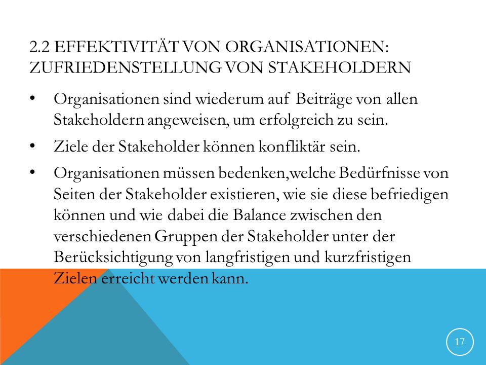 2.2 Effektivität von Organisationen: Zufriedenstellung von Stakeholdern