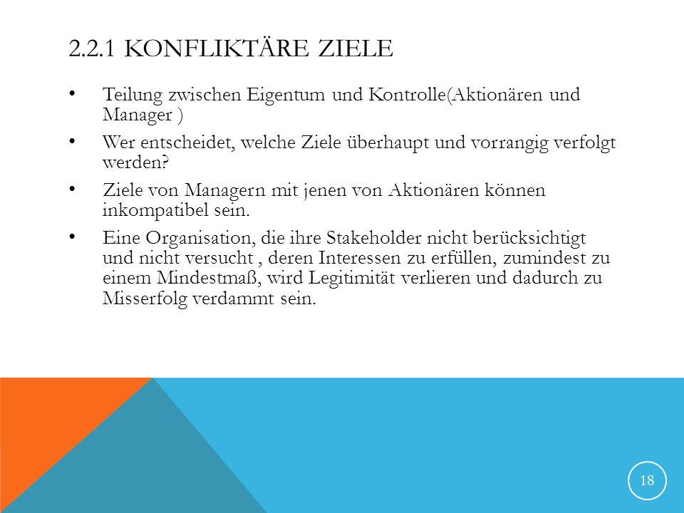 2.2.1 Konfliktäre Ziele Teilung zwischen Eigentum und Kontrolle(Aktionären und Manager )