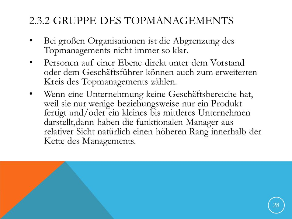 2.3.2 Gruppe des Topmanagements