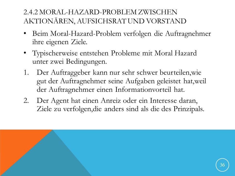 2.4.2 Moral-Hazard-Problem zwischen Aktionären, Aufsichsrat und Vorstand