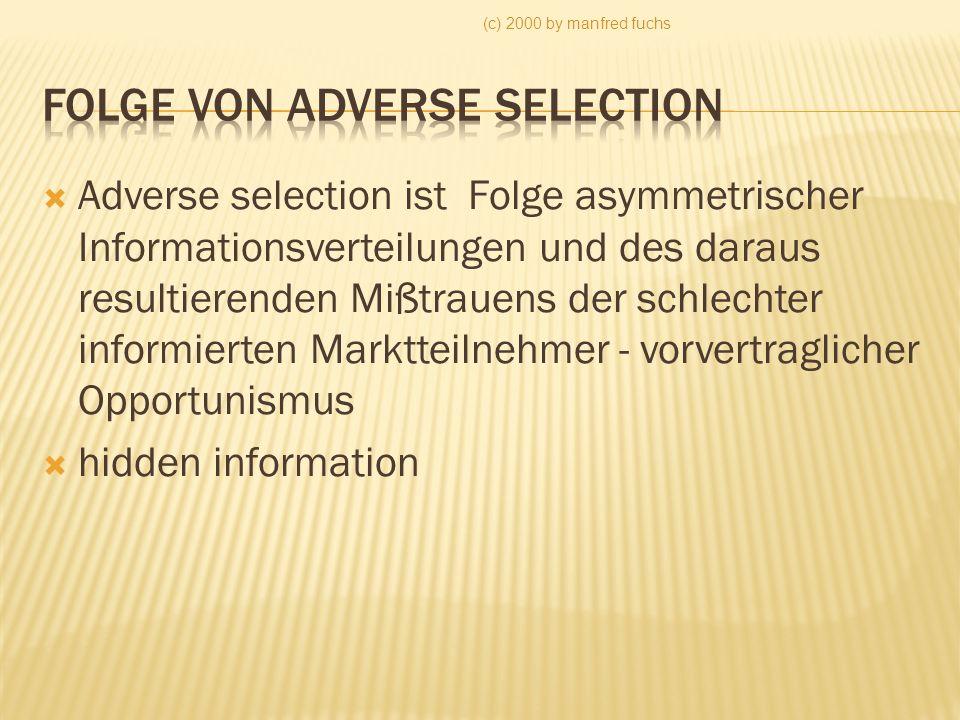 Folge von Adverse selection