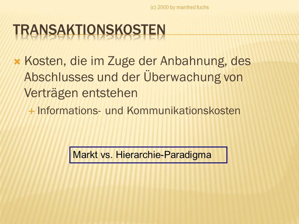 (c) 2000 by manfred fuchs Transaktionskosten. Kosten, die im Zuge der Anbahnung, des Abschlusses und der Überwachung von Verträgen entstehen.