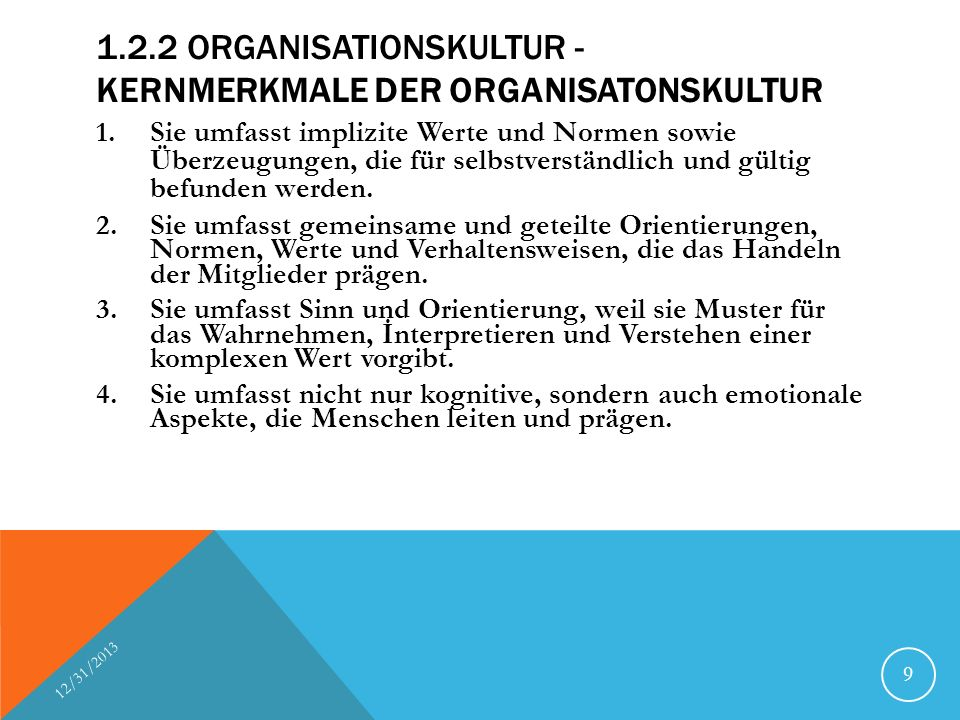 1.2.2 Organisationskultur - Kernmerkmale der Organisatonskultur