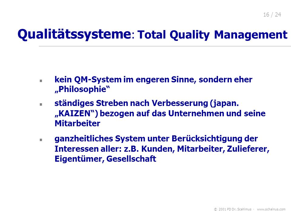 Qualitätssysteme: Total Quality Management
