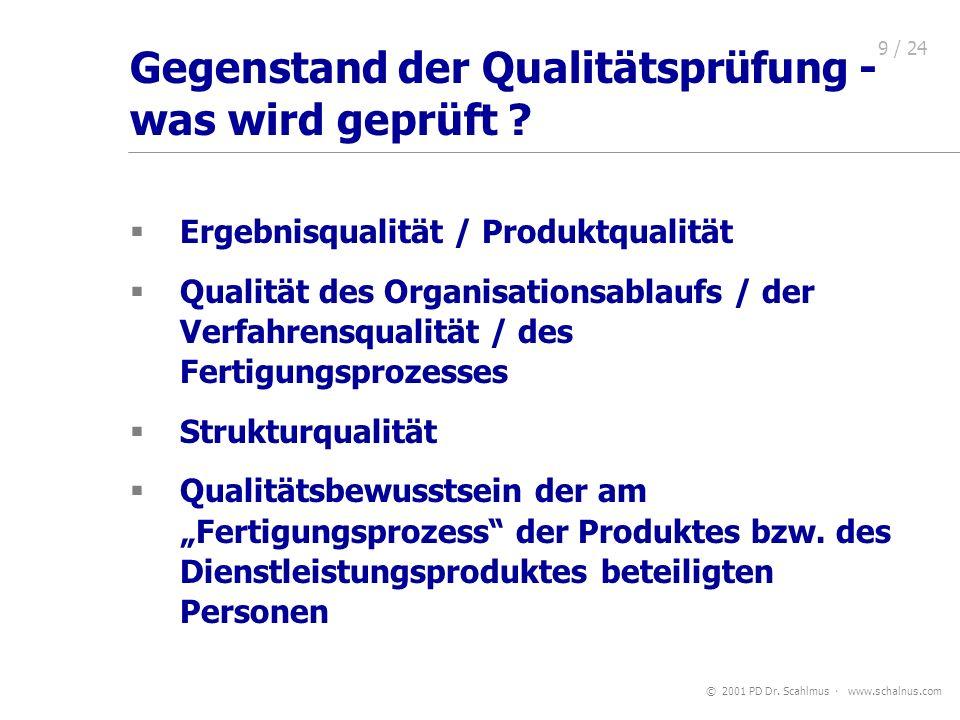 Gegenstand der Qualitätsprüfung - was wird geprüft