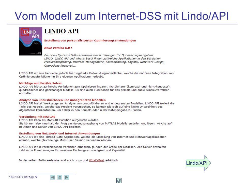 Vom Modell zum Internet-DSS mit Lindo/API