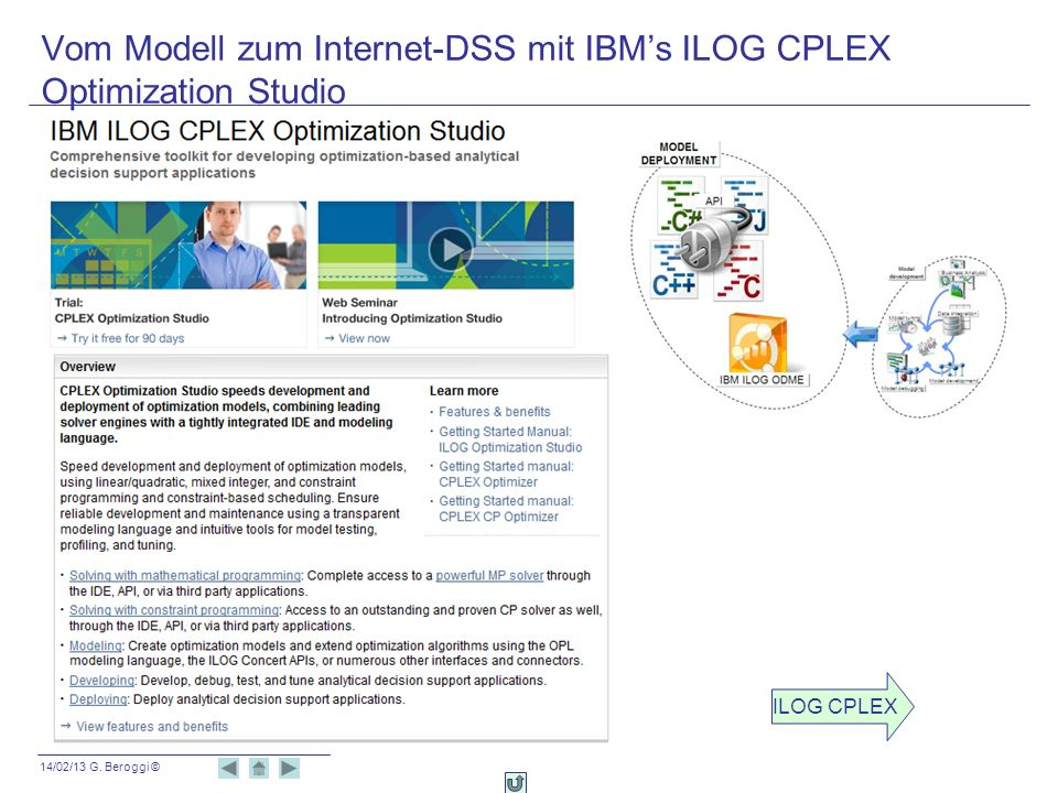Vom Modell zum Internet-DSS mit IBM's ILOG CPLEX Optimization Studio