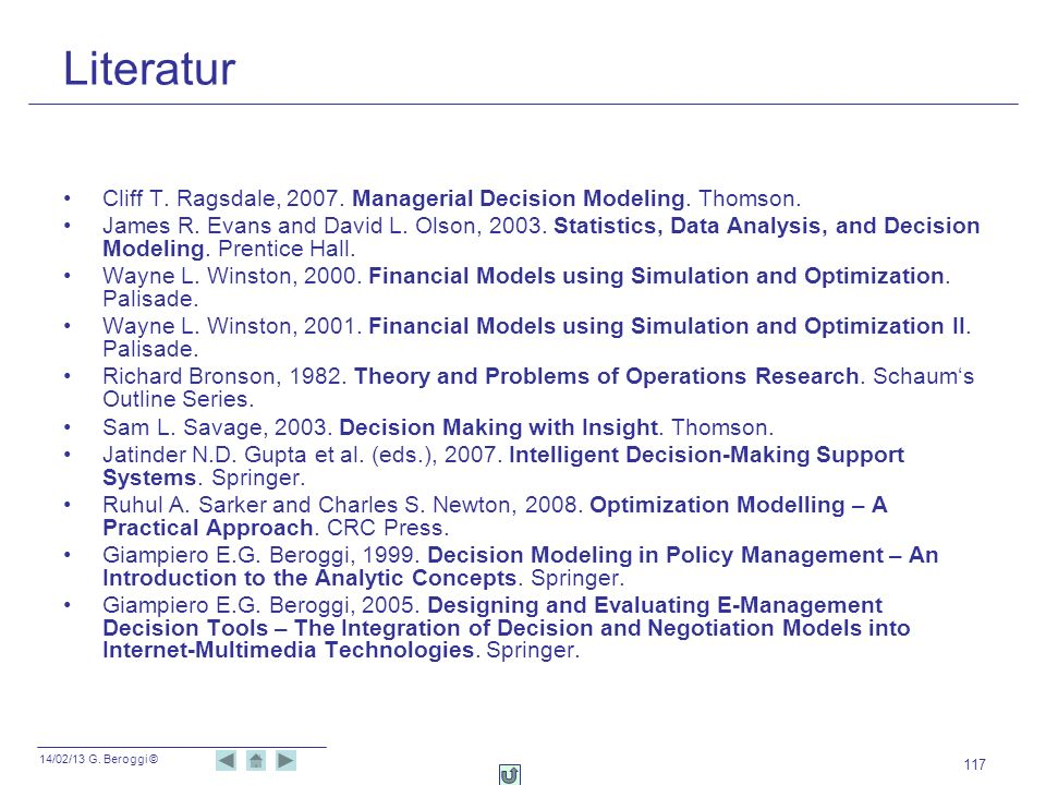 Literatur Cliff T. Ragsdale, 2007. Managerial Decision Modeling. Thomson.