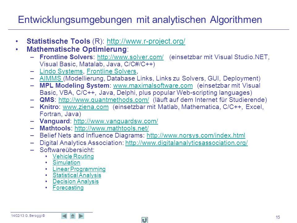 Entwicklungsumgebungen mit analytischen Algorithmen