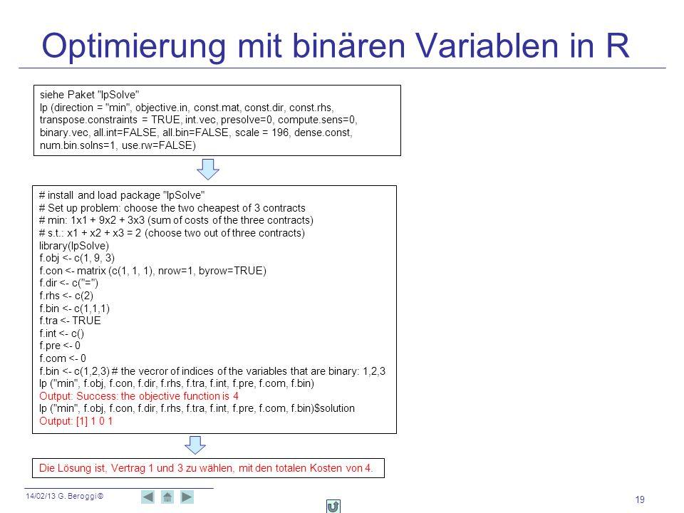 Optimierung mit binären Variablen in R