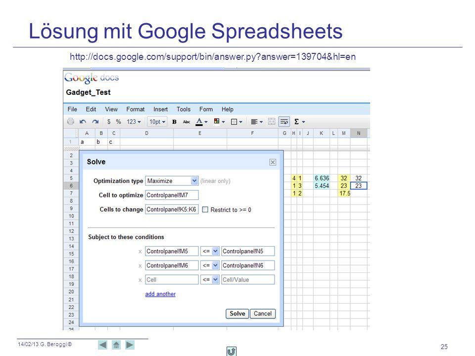 Lösung mit Google Spreadsheets
