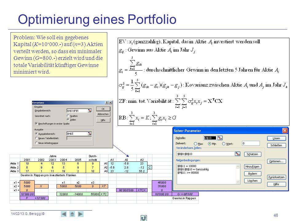 Optimierung eines Portfolio