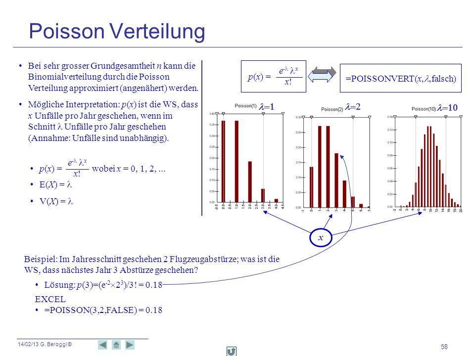 Poisson Verteilung Bei sehr grosser Grundgesamtheit n kann die Binomialverteilung durch die Poisson Verteilung approximiert (angenähert) werden.