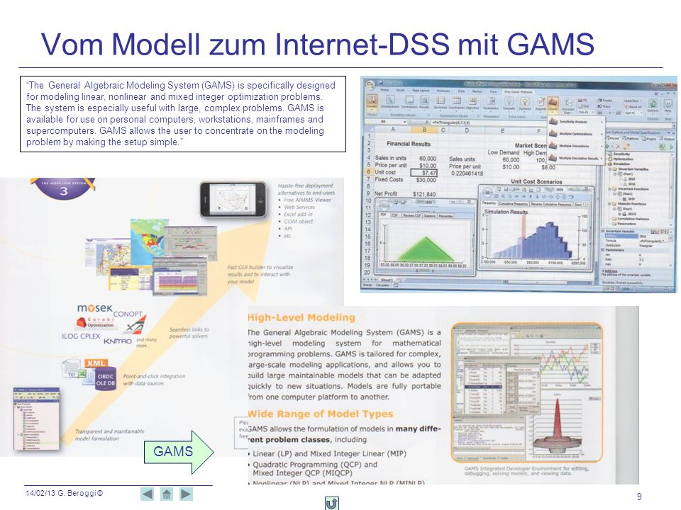 Vom Modell zum Internet-DSS mit GAMS