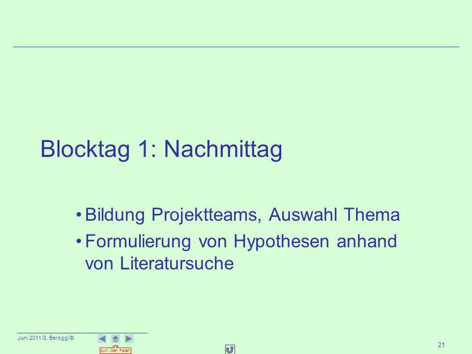 Blocktag 1: Nachmittag Bildung Projektteams, Auswahl Thema