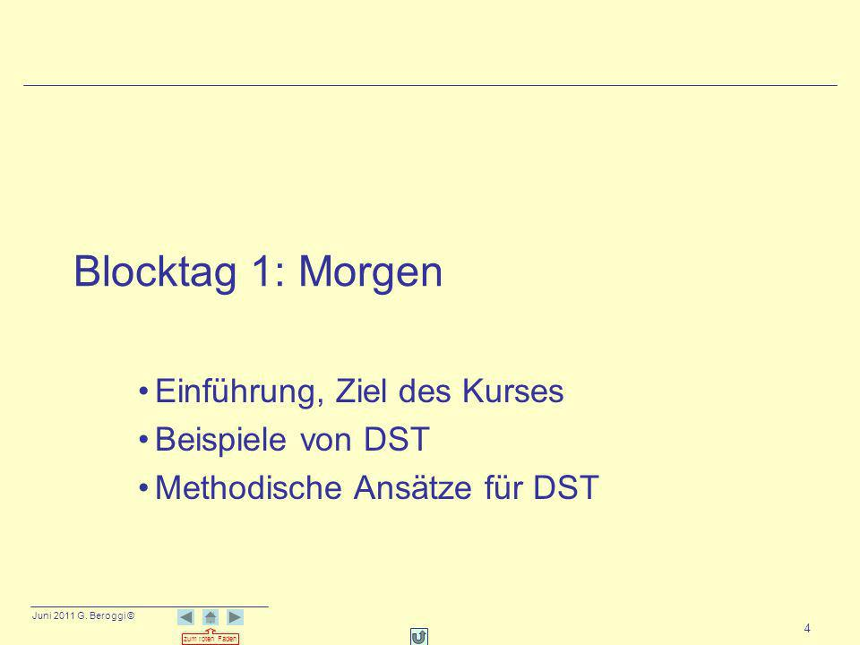 Blocktag 1: Morgen Einführung, Ziel des Kurses Beispiele von DST