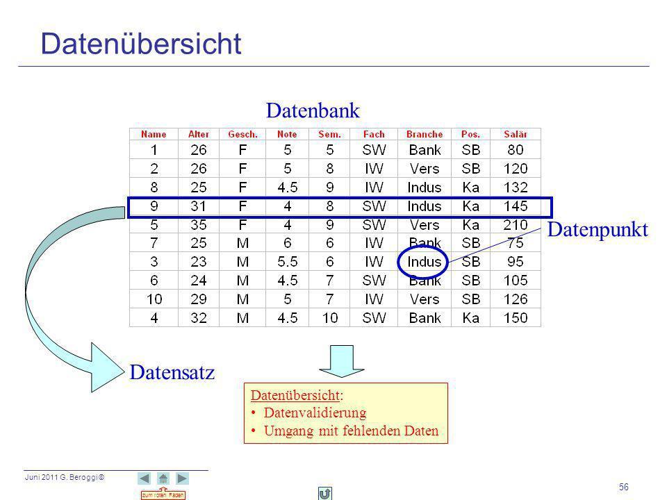 Datenübersicht Datenbank Datenpunkt Datensatz Datenübersicht: