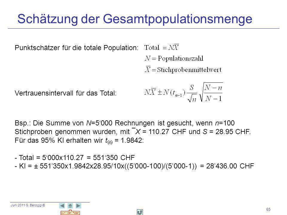 Schätzung der Gesamtpopulationsmenge