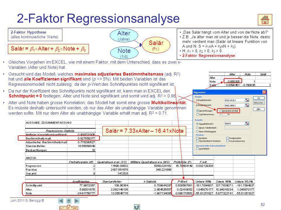 2-Faktor Regressionsanalyse