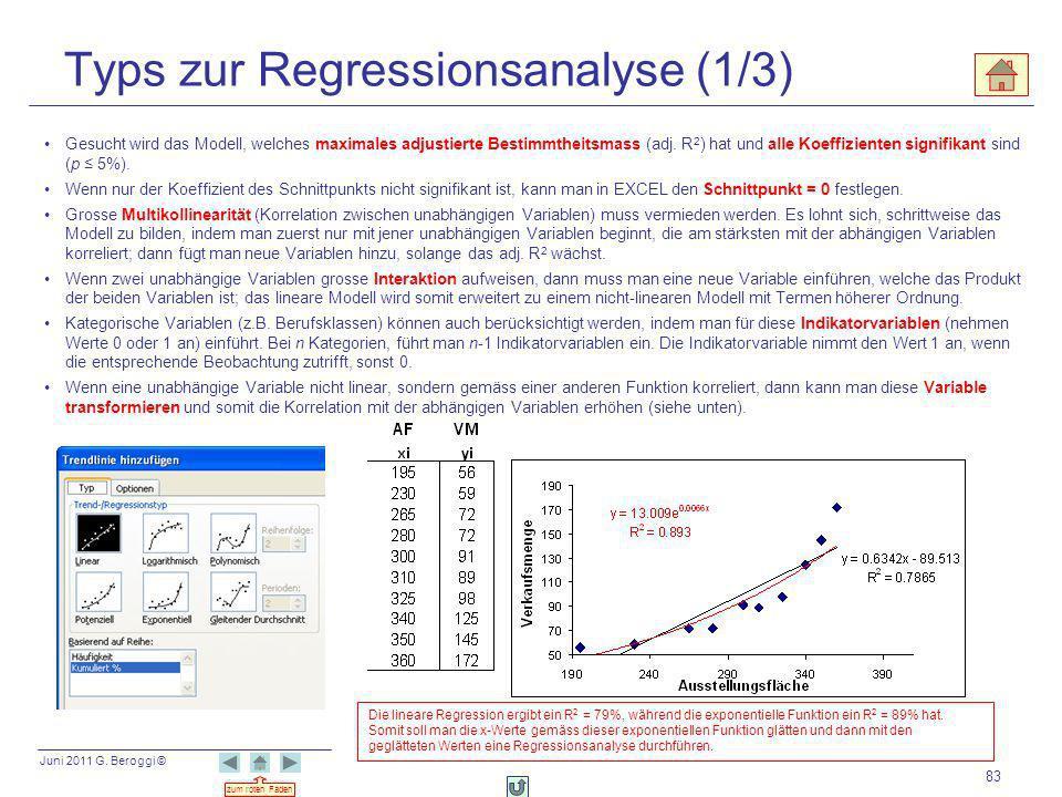 Typs zur Regressionsanalyse (1/3)