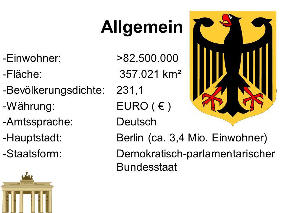 Allgemein -Einwohner: >82.500.000 -Fläche: 357.021 km²