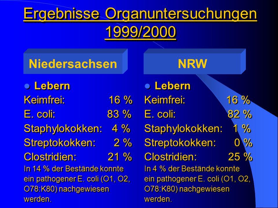 Ergebnisse Organuntersuchungen 1999/2000