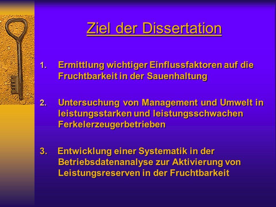 Ziel der Dissertation Ermittlung wichtiger Einflussfaktoren auf die Fruchtbarkeit in der Sauenhaltung.