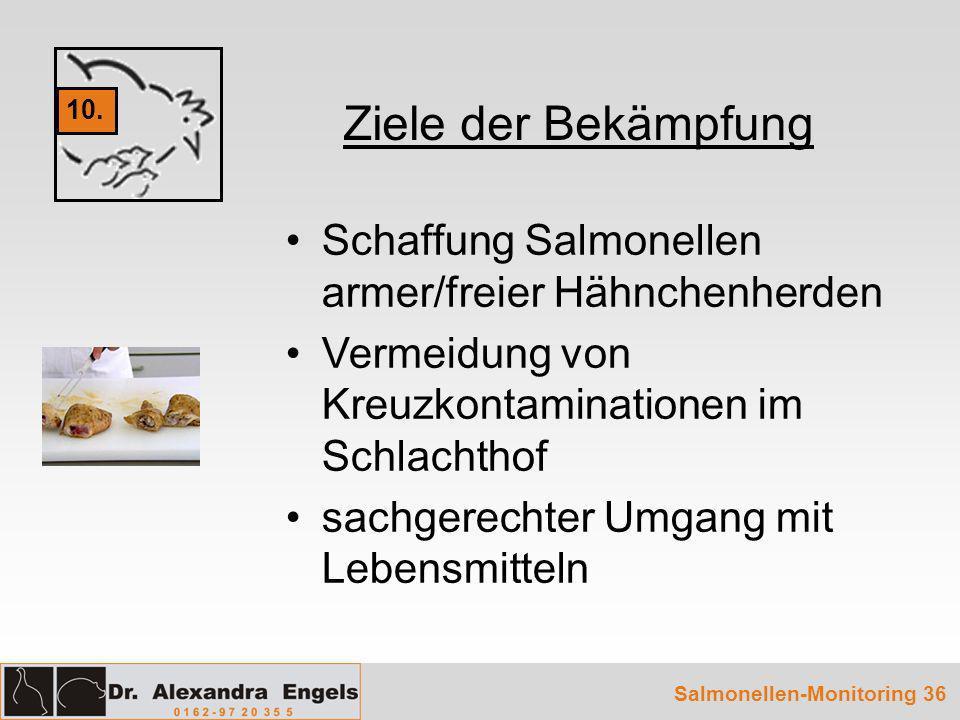 Ziele der Bekämpfung Schaffung Salmonellen armer/freier Hähnchenherden