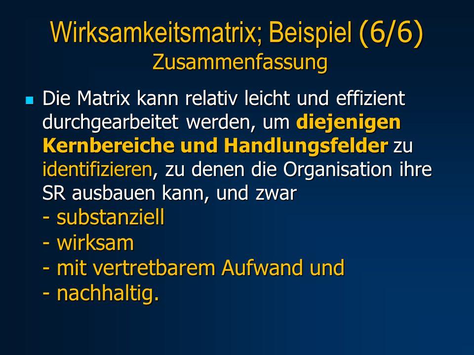 Wirksamkeitsmatrix; Beispiel (6/6) Zusammenfassung