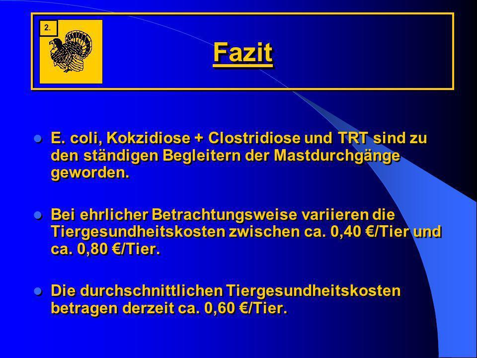 Fazit 2. E. coli, Kokzidiose + Clostridiose und TRT sind zu den ständigen Begleitern der Mastdurchgänge geworden.