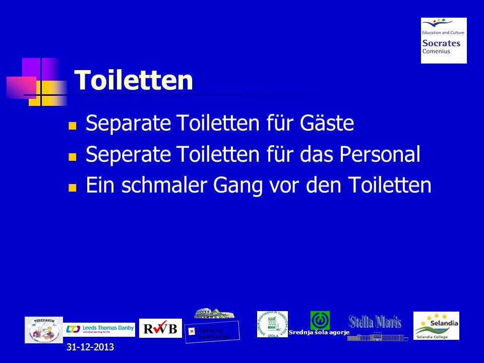 Separate Toiletten für Gäste Seperate Toiletten für das Personal