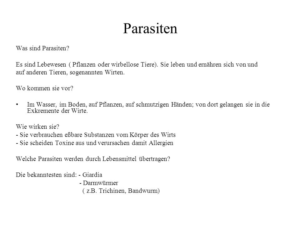 Parasiten Was sind Parasiten