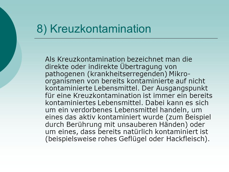 8) Kreuzkontamination