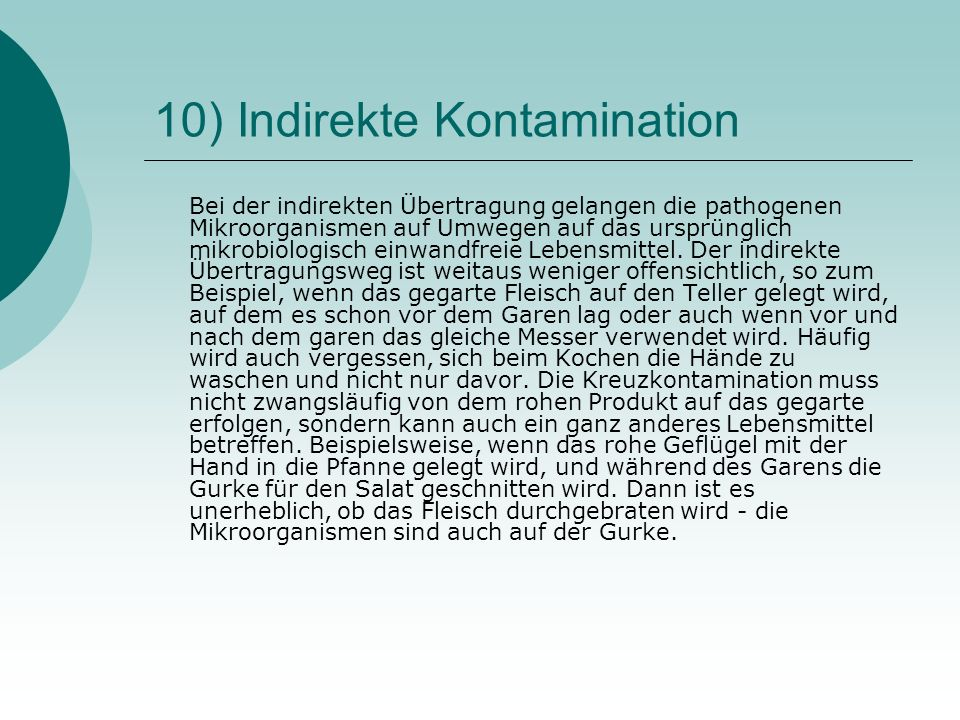 10) Indirekte Kontamination