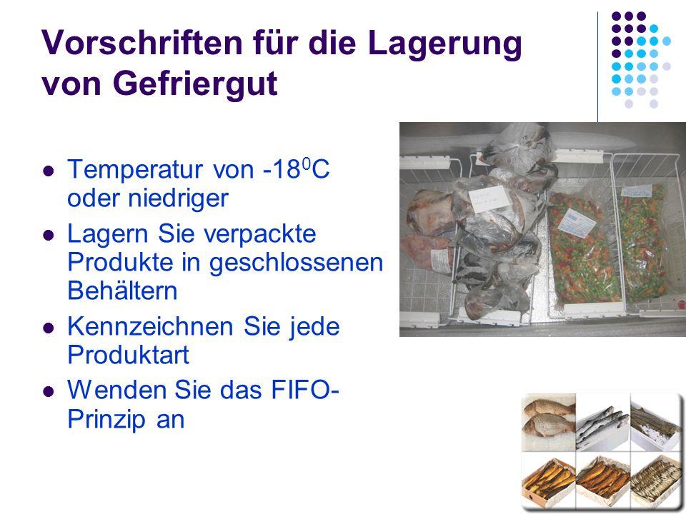 Vorschriften für die Lagerung von Gefriergut