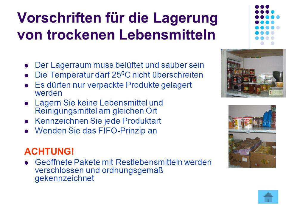 Vorschriften für die Lagerung von trockenen Lebensmitteln