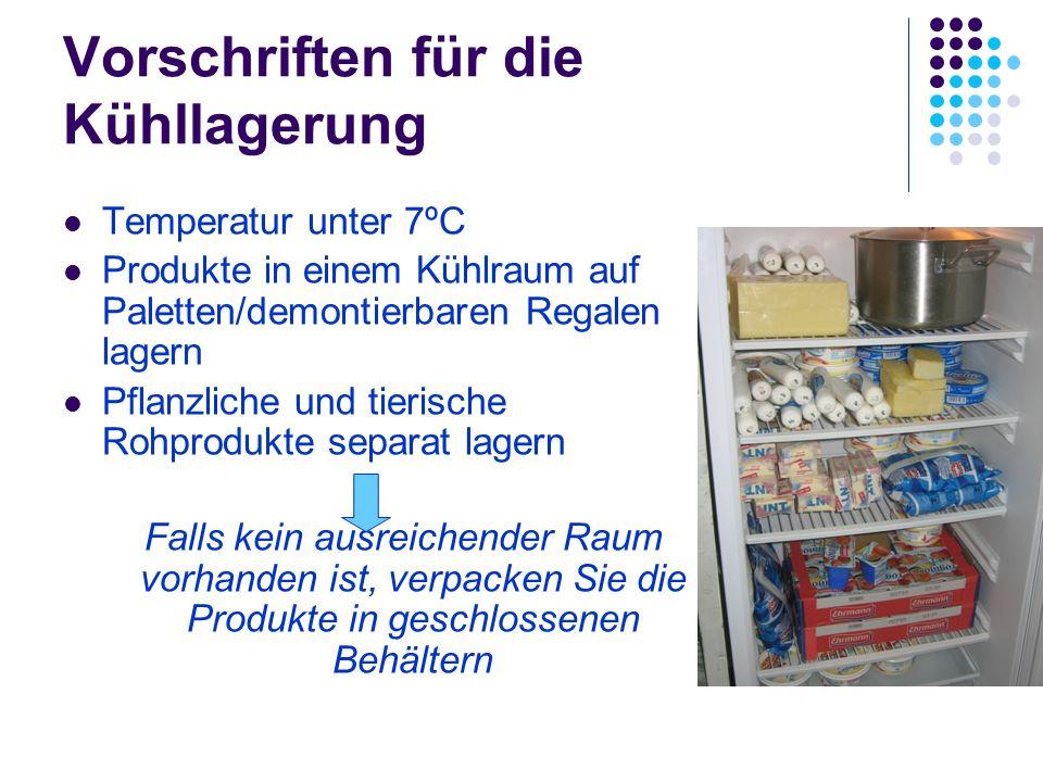 Vorschriften für die Kühllagerung