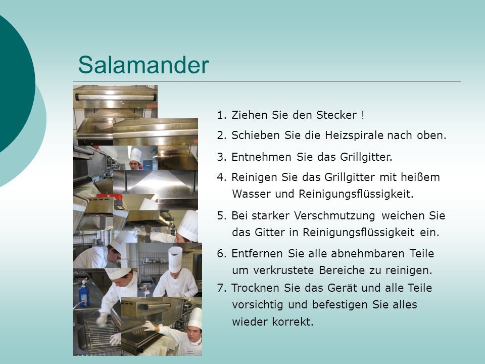 Salamander 1. Ziehen Sie den Stecker !