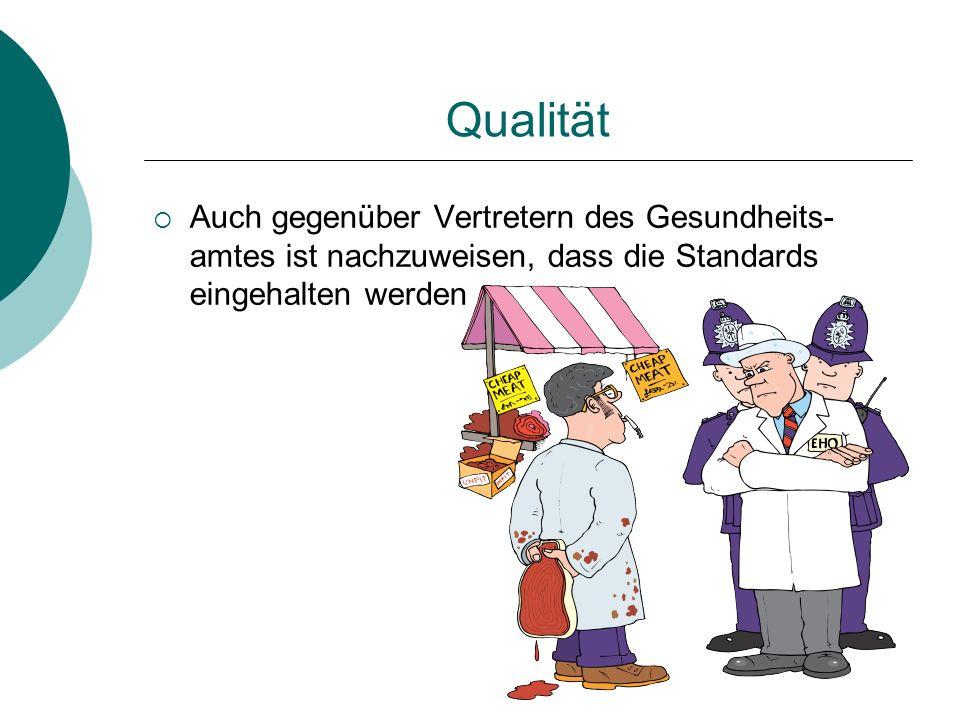 Qualität Auch gegenüber Vertretern des Gesundheits-amtes ist nachzuweisen, dass die Standards eingehalten werden.