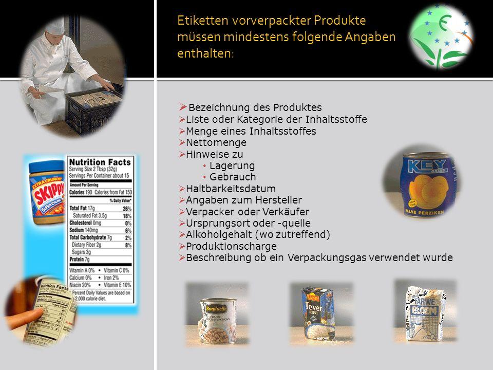 Etiketten vorverpackter Produkte müssen mindestens folgende Angaben enthalten: