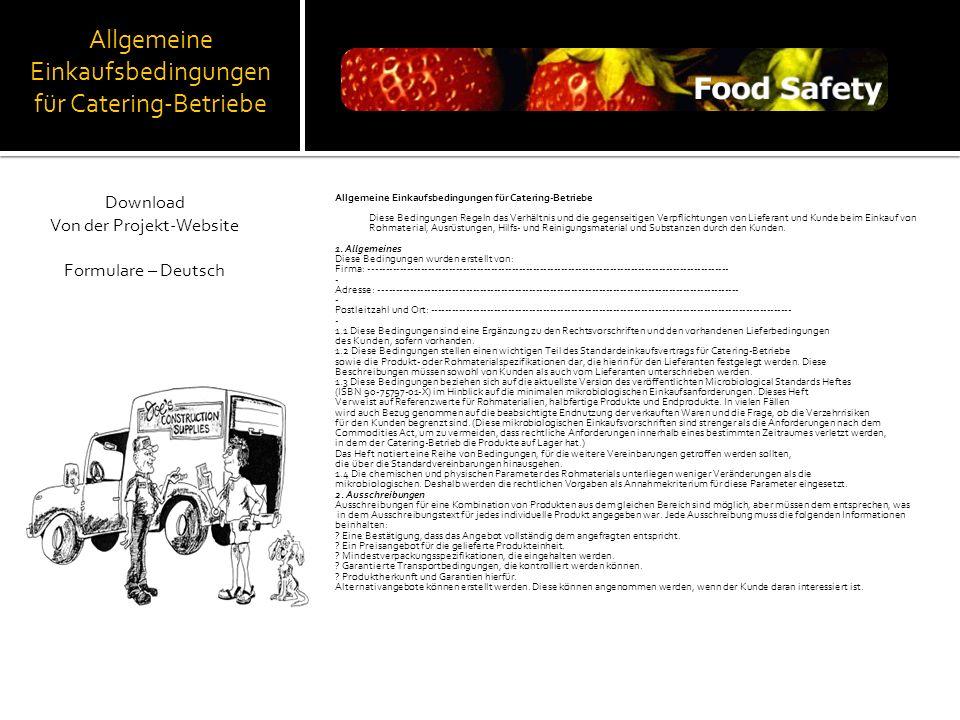 Allgemeine Einkaufsbedingungen für Catering-Betriebe