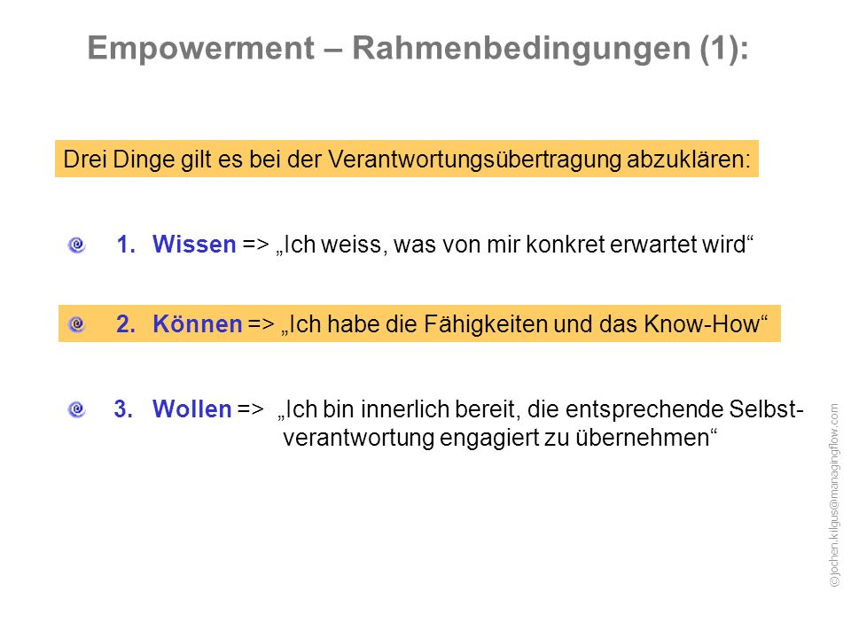 Empowerment – Rahmenbedingungen (1):