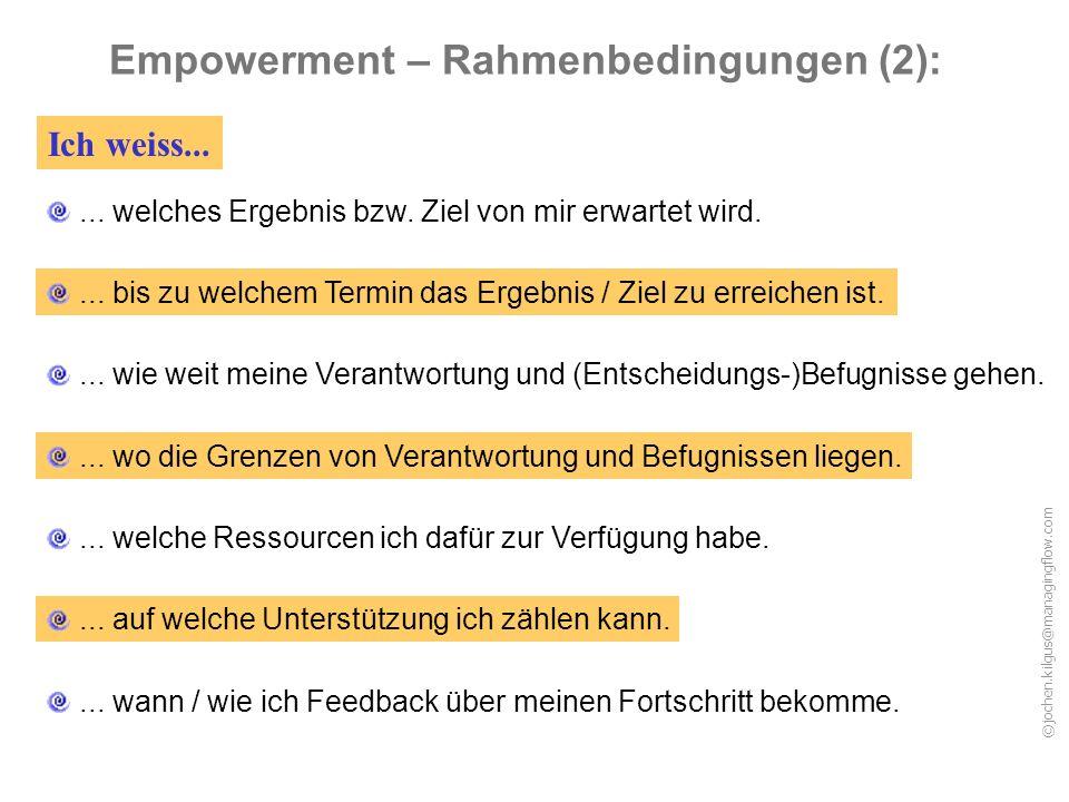 Empowerment – Rahmenbedingungen (2):