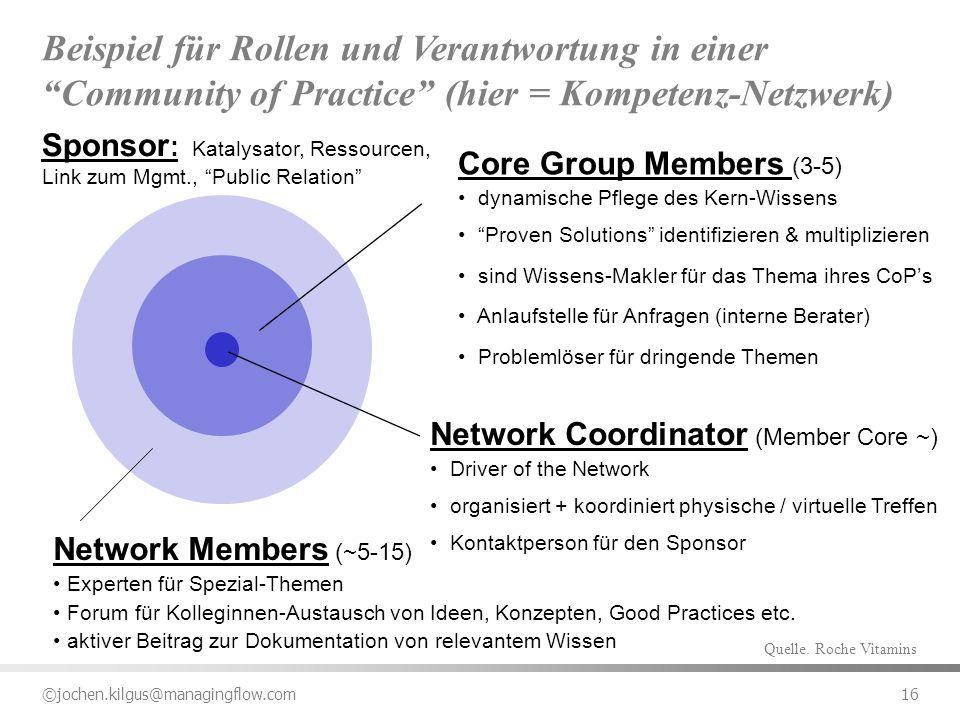 Beispiel für Rollen und Verantwortung in einer Community of Practice (hier = Kompetenz-Netzwerk)