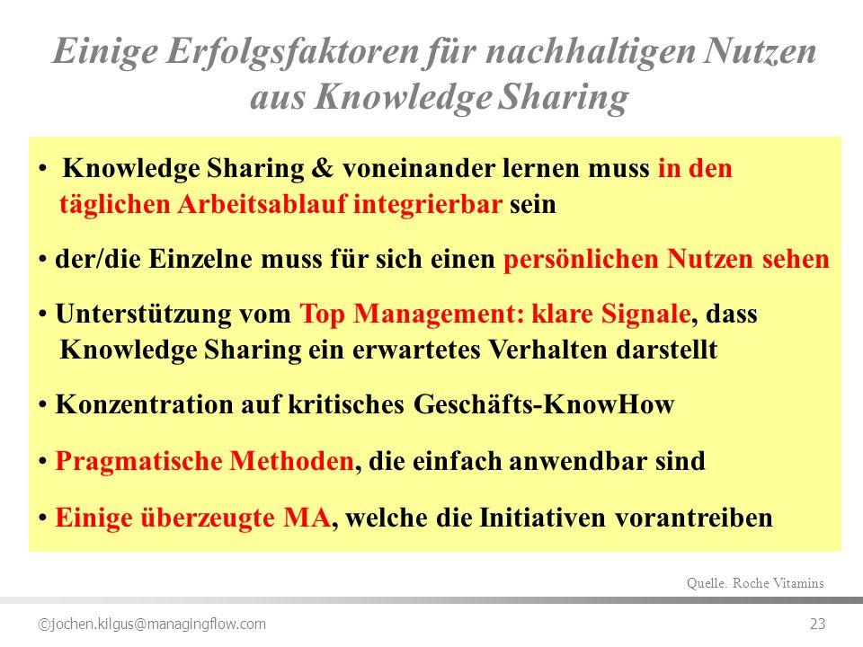 Einige Erfolgsfaktoren für nachhaltigen Nutzen aus Knowledge Sharing