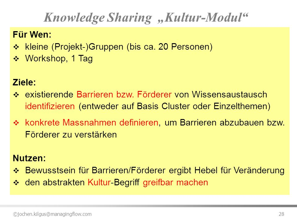 "Knowledge Sharing ""Kultur-Modul"