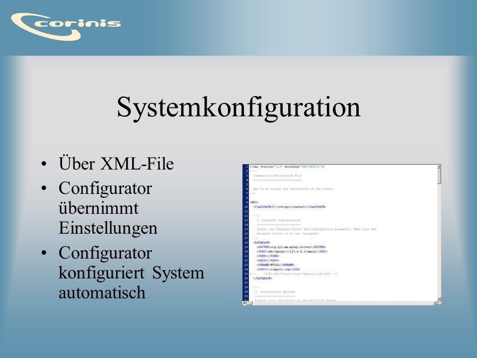 Systemkonfiguration Über XML-File Configurator übernimmt Einstellungen